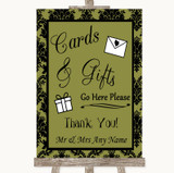 Olive Green Damask Cards & Gifts Table Customised Wedding Sign