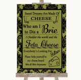 Olive Green Damask Cheese Board Song Customised Wedding Sign
