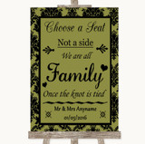 Olive Green Damask Choose A Seat We Are All Family Customised Wedding Sign