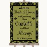 Olive Green Damask Confetti Customised Wedding Sign