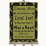Olive Green Damask Dancing Shoes Flip-Flop Tired Feet Customised Wedding Sign