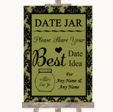 Olive Green Damask Date Jar Guestbook Customised Wedding Sign