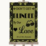 Olive Green Damask Don't Be Blinded Sunglasses Customised Wedding Sign