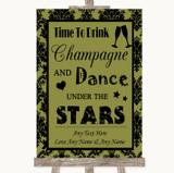 Olive Green Damask Drink Champagne Dance Stars Customised Wedding Sign