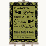 Olive Green Damask Friends Of The Bride Groom Seating Customised Wedding Sign