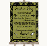 Olive Green Damask Grab A Bag Candy Buffet Cart Sweets Customised Wedding Sign