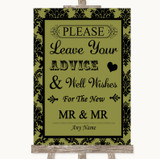 Olive Green Damask Guestbook Advice & Wishes Gay Customised Wedding Sign