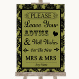 Olive Green Damask Guestbook Advice & Wishes Lesbian Customised Wedding Sign