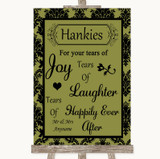 Olive Green Damask Hankies And Tissues Customised Wedding Sign