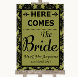Olive Green Damask Here Comes Bride Aisle Sign Customised Wedding Sign