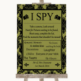 Olive Green Damask I Spy Disposable Camera Customised Wedding Sign
