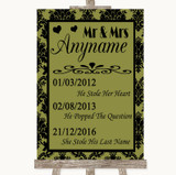 Olive Green Damask Important Special Dates Customised Wedding Sign