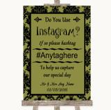 Olive Green Damask Instagram Photo Sharing Customised Wedding Sign