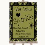 Olive Green Damask Let Love Sparkle Sparkler Send Off Customised Wedding Sign