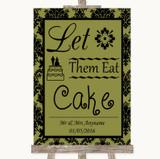 Olive Green Damask Let Them Eat Cake Customised Wedding Sign