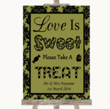 Olive Green Damask Love Is Sweet Take A Treat Candy Buffet Wedding Sign