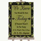 Olive Green Damask Loved Ones In Heaven Customised Wedding Sign