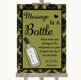 Olive Green Damask Message In A Bottle Customised Wedding Sign