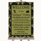 Olive Green Damask No Phone Camera Unplugged Customised Wedding Sign