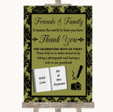 Olive Green Damask Photo Guestbook Friends & Family Customised Wedding Sign