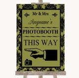 Olive Green Damask Photobooth This Way Left Customised Wedding Sign