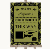 Olive Green Damask Photobooth This Way Right Customised Wedding Sign