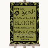 Olive Green Damask Plant Seeds Favours Customised Wedding Sign