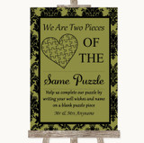 Olive Green Damask Puzzle Piece Guest Book Customised Wedding Sign