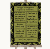 Olive Green Damask Romantic Vows Customised Wedding Sign