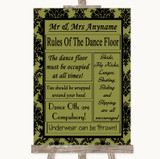 Olive Green Damask Rules Of The Dancefloor Customised Wedding Sign