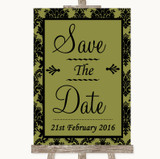 Olive Green Damask Save The Date Customised Wedding Sign