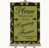 Olive Green Damask Signing Frame Guestbook Customised Wedding Sign