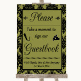 Olive Green Damask Take A Moment To Sign Our Guest Book Wedding Sign