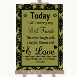 Olive Green Damask Today I Marry My Best Friend Customised Wedding Sign