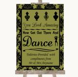 Olive Green Damask Toiletries Comfort Basket Customised Wedding Sign