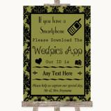 Olive Green Damask Wedpics App Photos Customised Wedding Sign