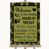 Olive Green Damask Welcome Order Of The Day Customised Wedding Sign