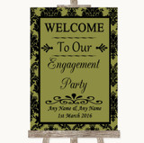 Olive Green Damask Welcome To Our Engagement Party Customised Wedding Sign