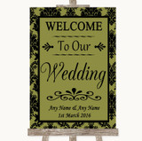Olive Green Damask Welcome To Our Wedding Customised Wedding Sign