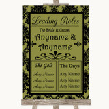 Olive Green Damask Who's Who Leading Roles Customised Wedding Sign