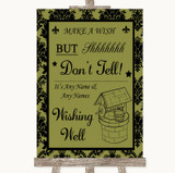 Olive Green Damask Wishing Well Message Customised Wedding Sign