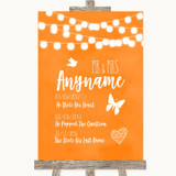 Orange Watercolour Lights Important Special Dates Customised Wedding Sign