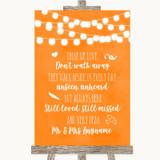 Orange Watercolour Lights In Loving Memory Customised Wedding Sign