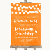 Orange Watercolour Lights In Our Thoughts Customised Wedding Sign