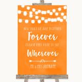 Orange Watercolour Lights Informal No Seating Plan Customised Wedding Sign