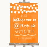 Orange Watercolour Lights Instagram Hashtag Customised Wedding Sign