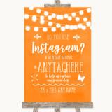 Orange Watercolour Lights Instagram Photo Sharing Customised Wedding Sign