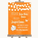 Orange Watercolour Lights Jenga Guest Book Customised Wedding Sign