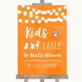 Orange Watercolour Lights Kids Table Customised Wedding Sign
