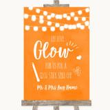 Orange Watercolour Lights Let Love Glow Glowstick Customised Wedding Sign